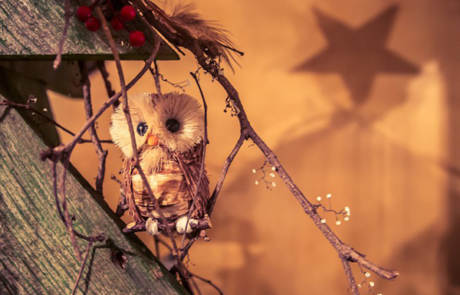 Owl on a wooden Christmas tree at the Capitol Theatre