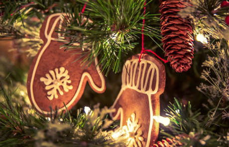 Gingerbread tree ornaments at the Capitol Theatre