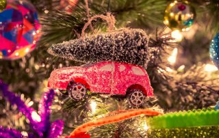 Miniature Car with Christmas Tree - Ornament