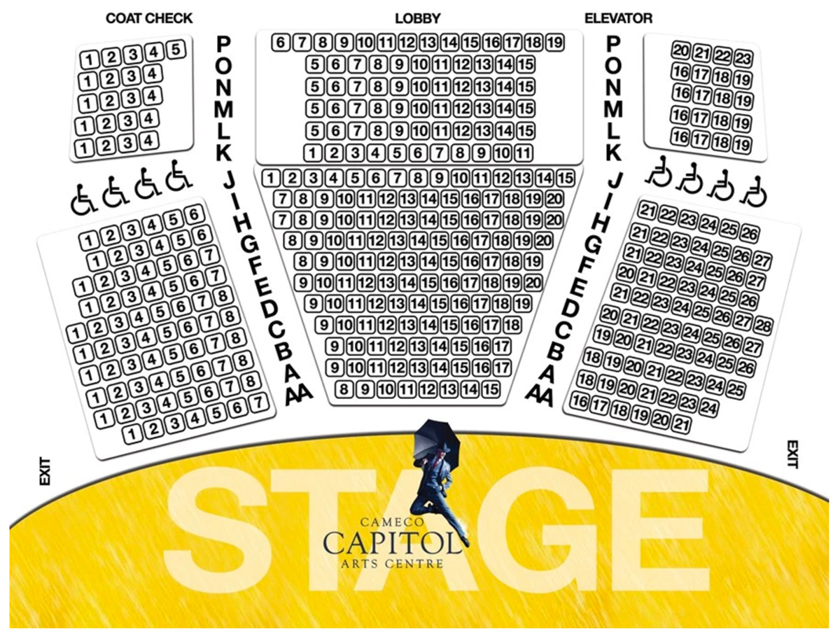Seating map cameco capitol arts centre